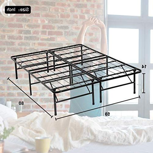 Bed Bed Mattress Frame Inch Heavy Steel Replaces Box Black,Queen
