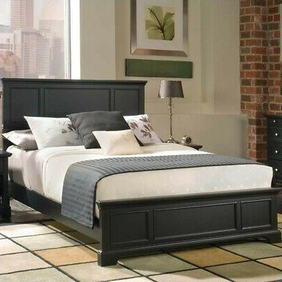 Home Styles Bedford Queen Panel Bed Wood Beds in Ebony Finis
