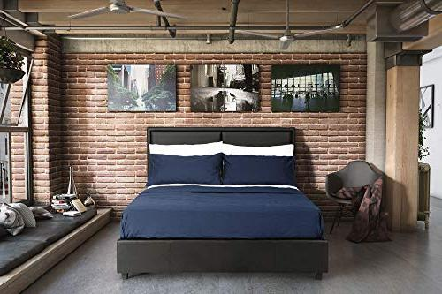 DHP Faux Leather Platform Bed Wooden Support, Size