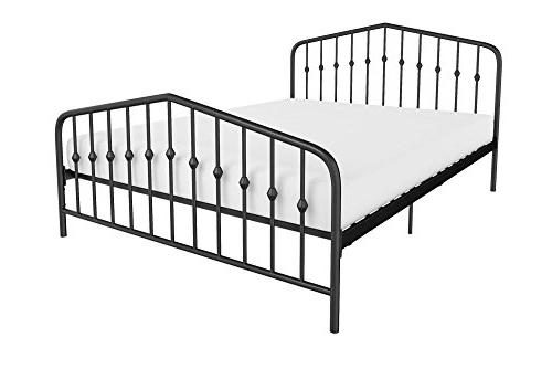 Novogratz Bushwick Metal Bed, Modern Design, Queen Size - Bl