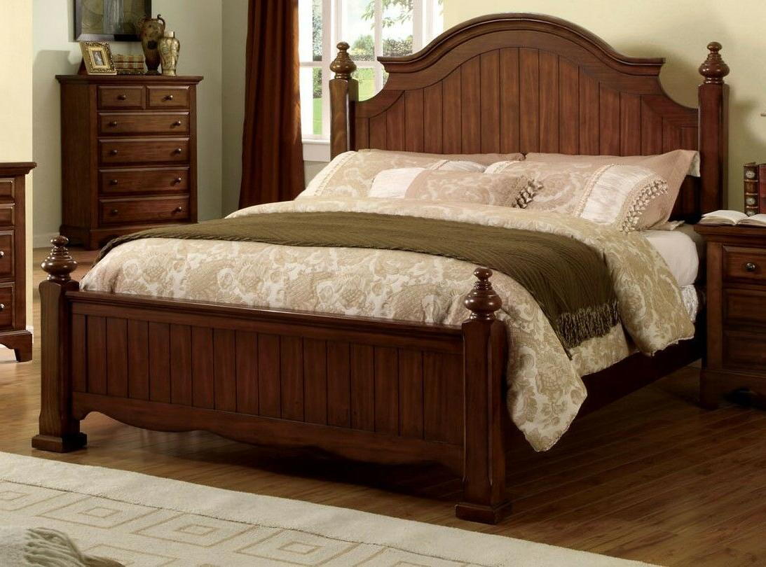 Contemporary Design Queen Size Bed Bed Walnut Wood Finish