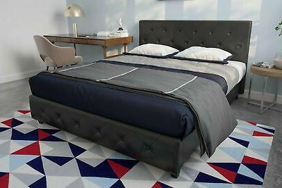 Contemporary Queen Platform Bed Frame Black Leather Tufted F