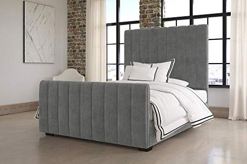 DHP Upholstered Bed with Luxurious Upholstered Design, Queen Size Grey