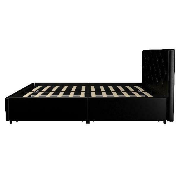 DHP Dean Black Faux Leather Upholstered Bed with New