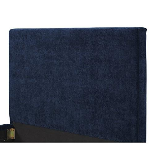 Tov The Collection Modern Velvet Fabric Upholstered Dried Wood Bed With Legs, Size, Blue