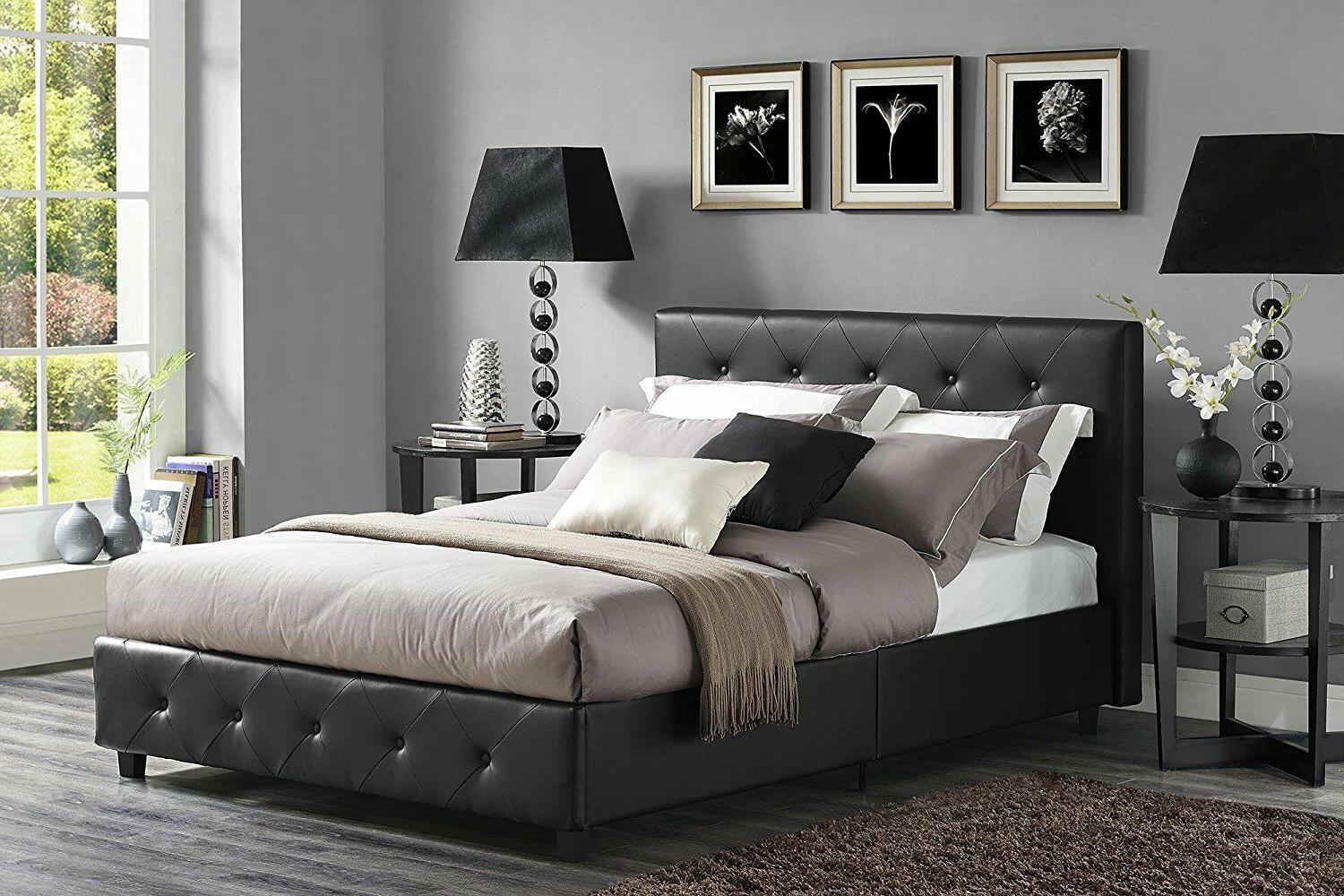 Queen Black Platform w/ Padded Headboard and NEW!