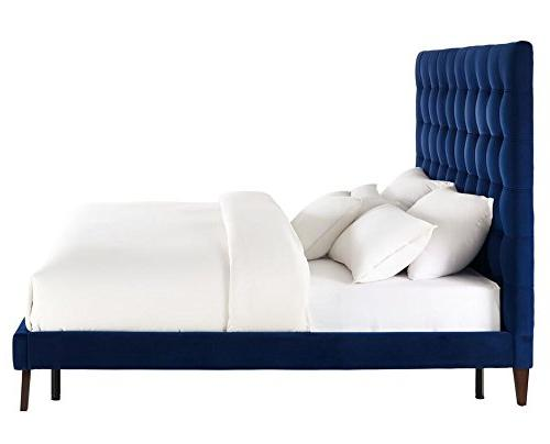 TOV Furniture The Collection Button Tufted Headboard, Size, Navy