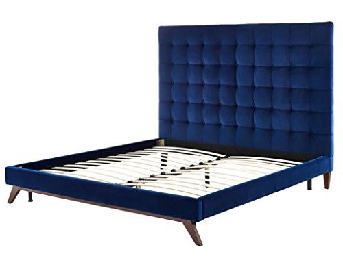 TOV Furniture The Collection Velvet Upholstered Bed Button Size,