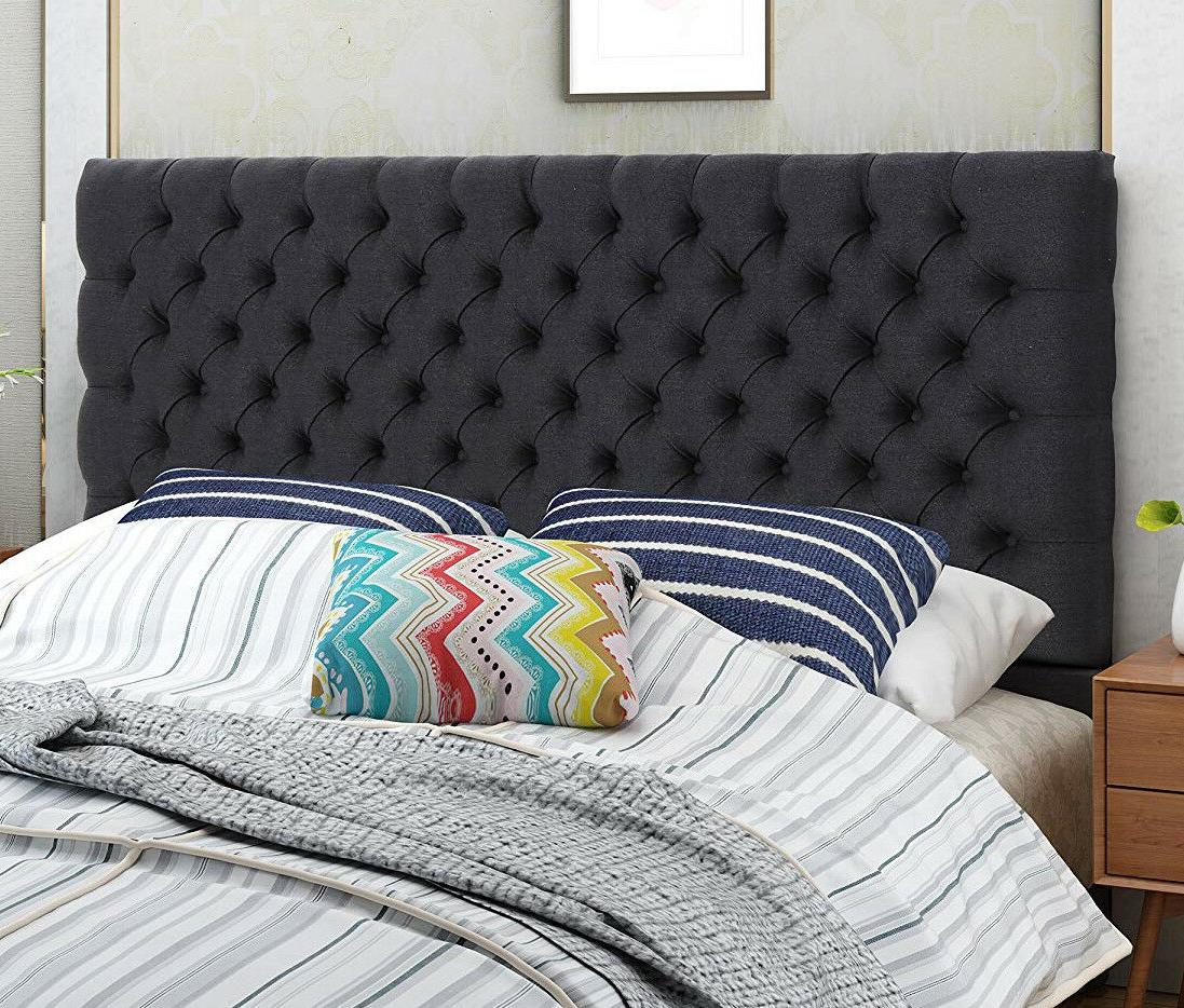 fabric headboard queen black diamond button tufted