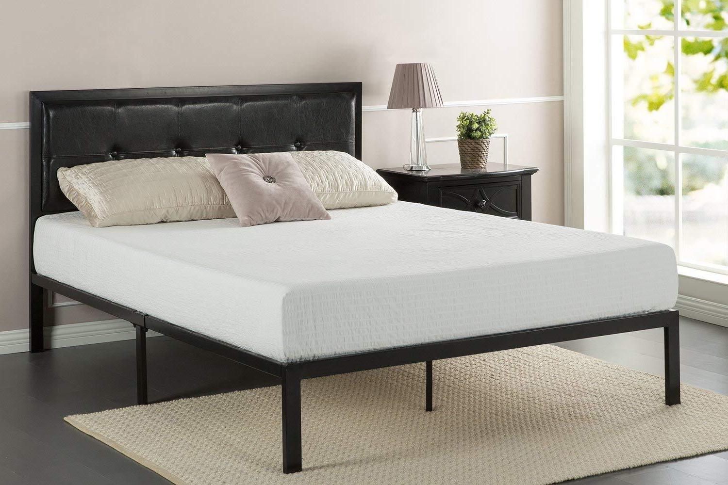 faux leather classic platform bed frame