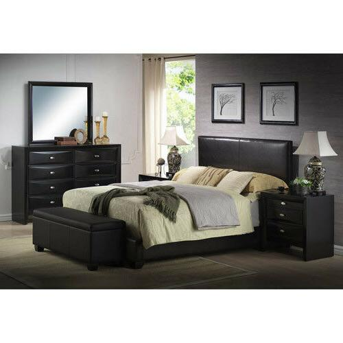 Faux Leather Frame Bedroom Headboard Furniture Black Queen S