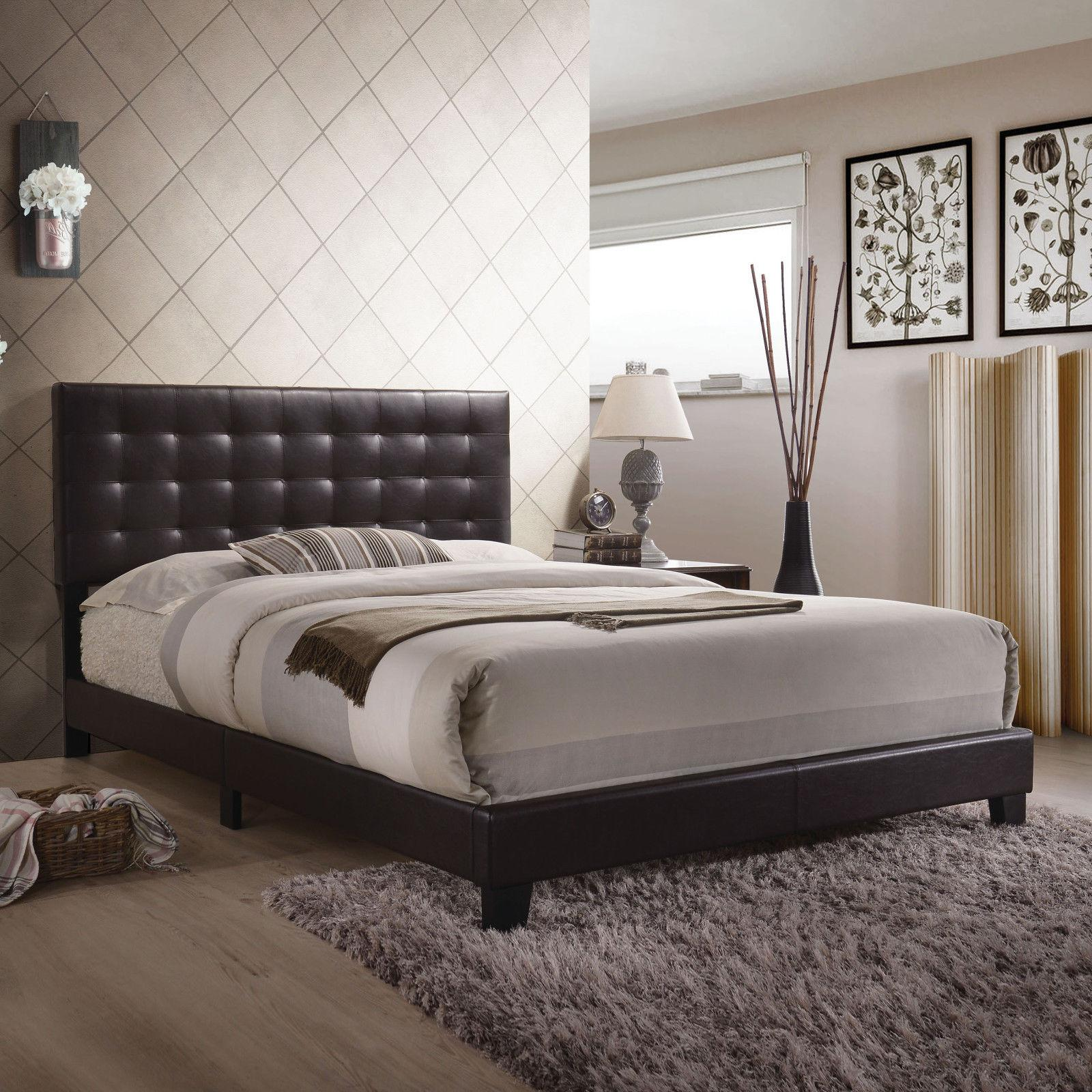 faux leather headboard wood bedroom furniture