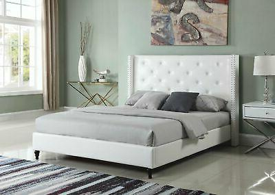Full/King Platform Bed White Leather Nailed Button Tufted He
