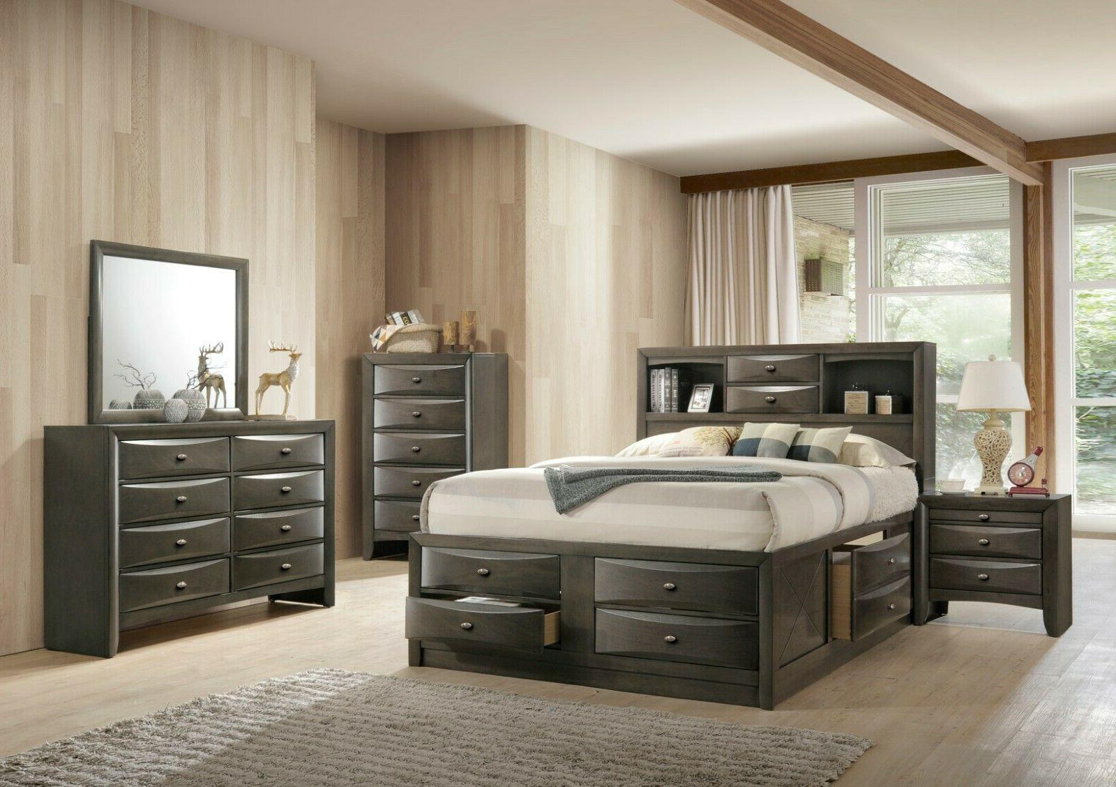 gray emily ultimate storage bed king or