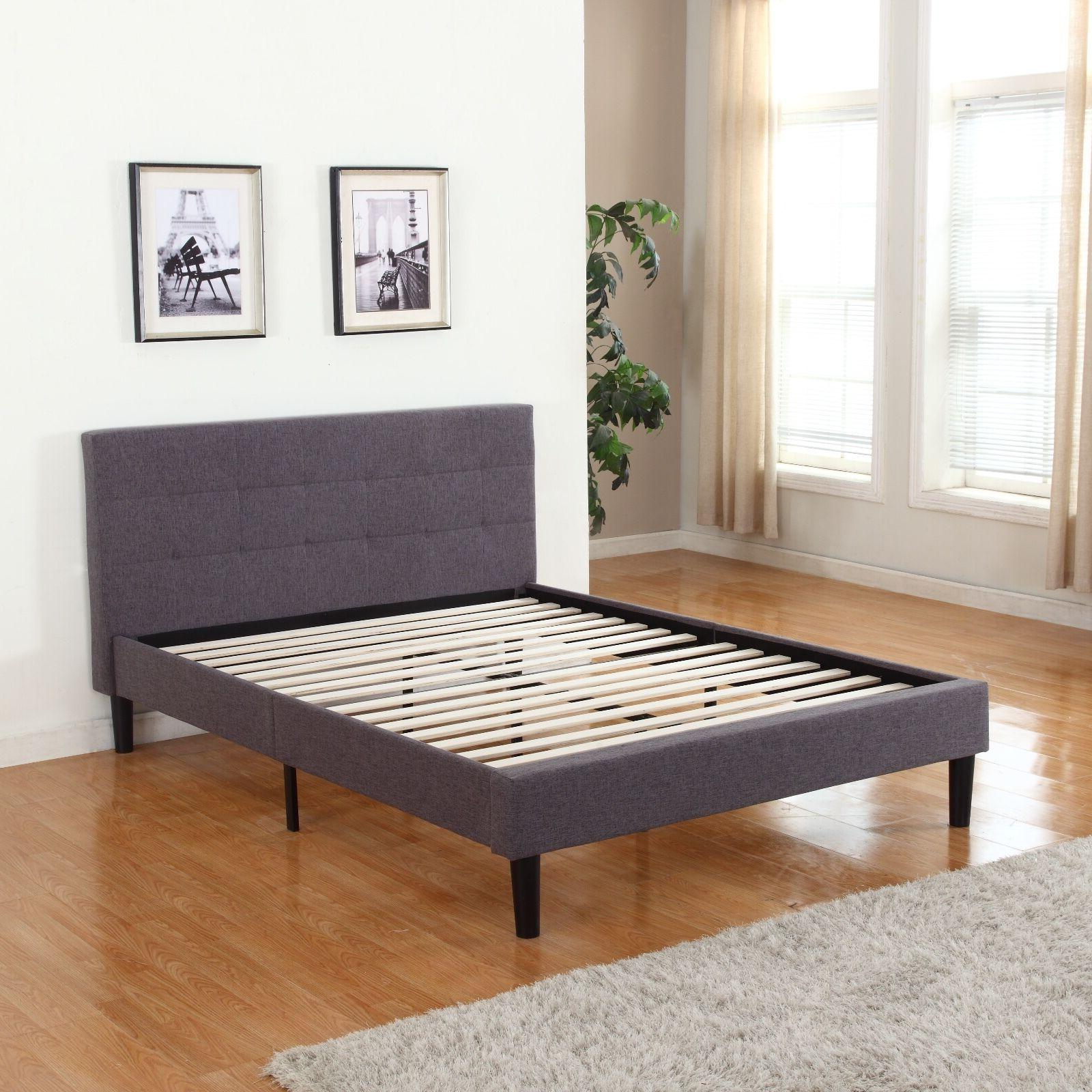 Grey Fabric Upholstered Platform Bed with Slats, Full