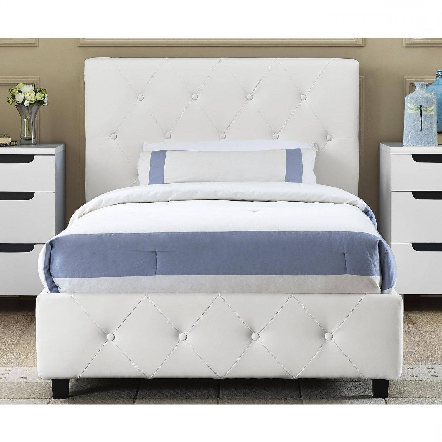 Headboard Bed Leather White Tufted Twin Full Queen Size