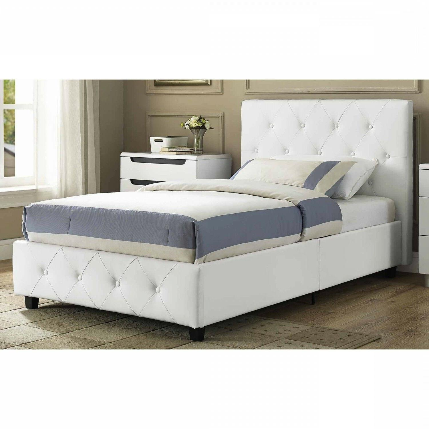 headboard upholstered bed faux leather white tufted