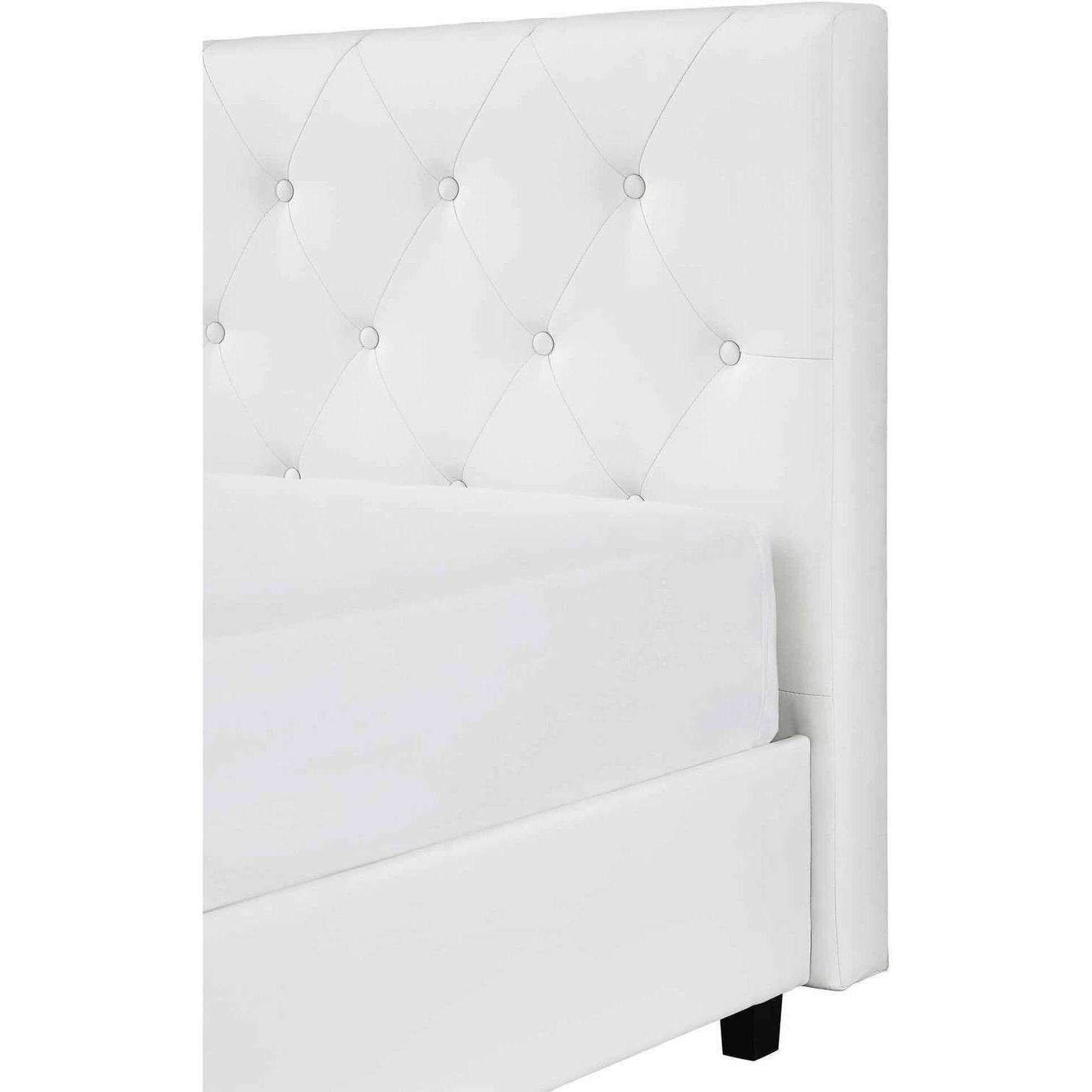 Headboard Upholstered Leather White Twin Full Size Bedroom