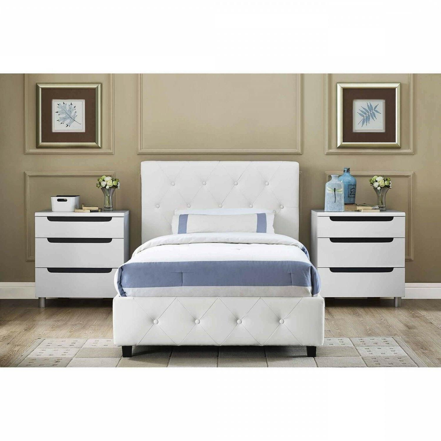 Headboard Bed Leather White Full Size