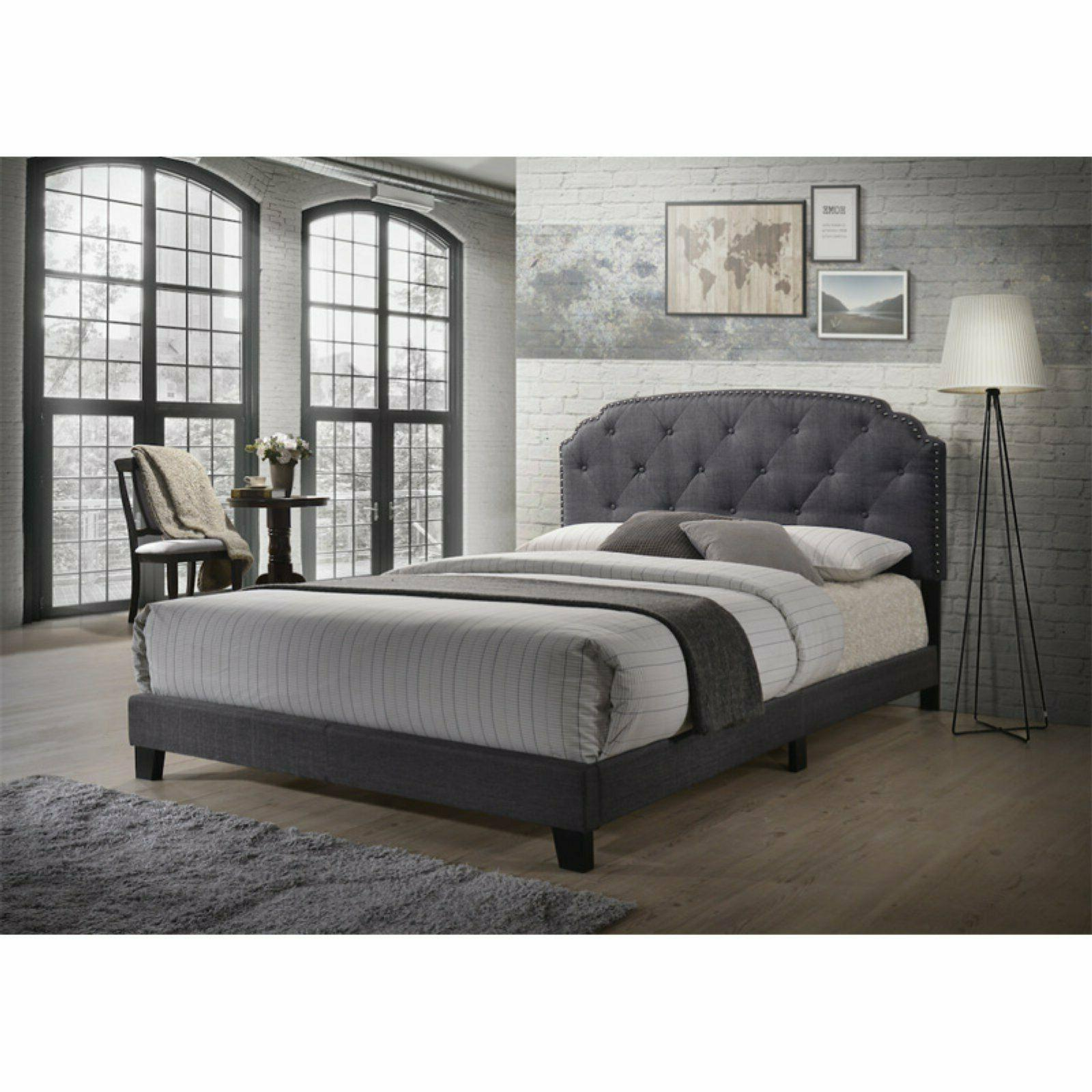 Charcoal Gray Queen Size Wood Panel Bed Frame with Headboard