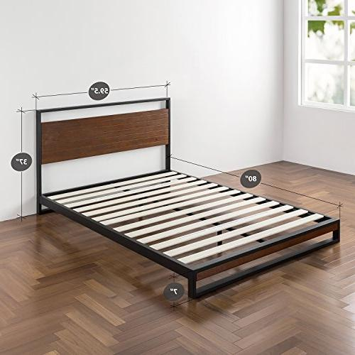 Zinus Wood with Headboard Box Optional Wood Slat Support, Queen