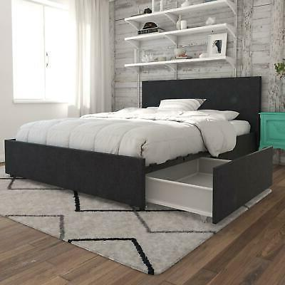 kelly upholstered bed with storage dark grey