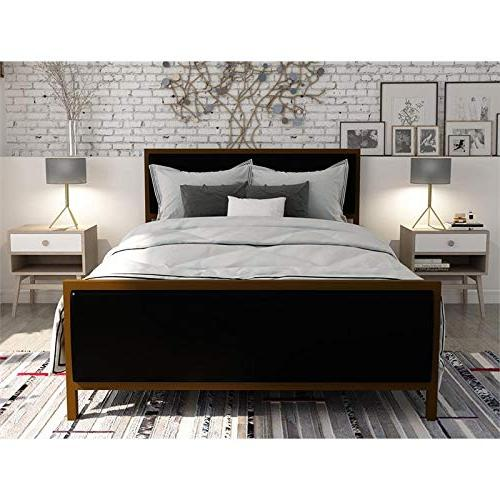 DHP Modern Black Faux Upholstered and Frame Queen Size