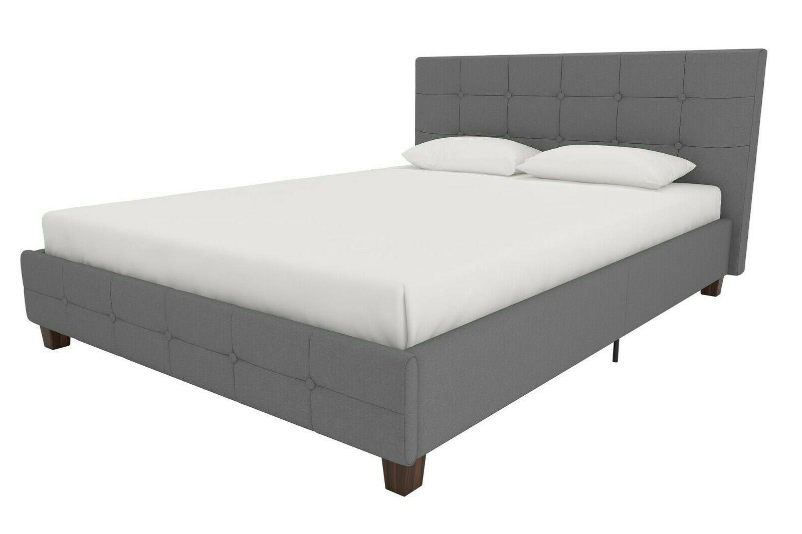 Linen Bed, Tufted Headboard and