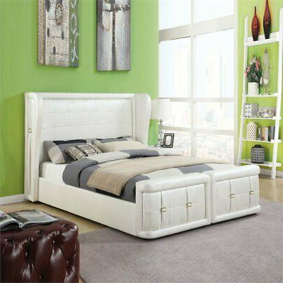 linus queen bed in pearl white