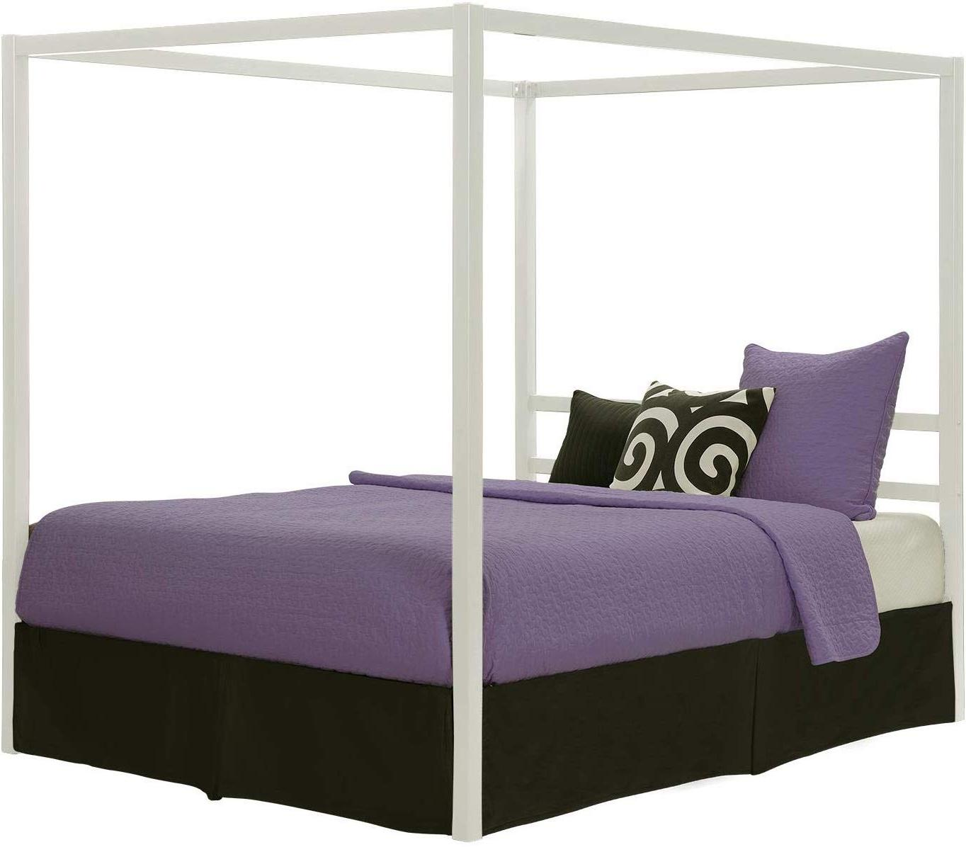 modern canopy bed with built in headboard