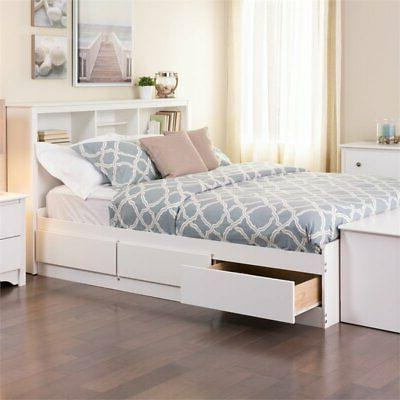 monterey full platform storage bed in white