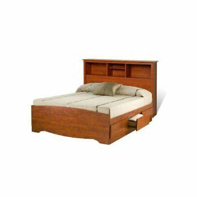 Prepac Monterey Queen Bookcase Platform Storage Bed in Cherr