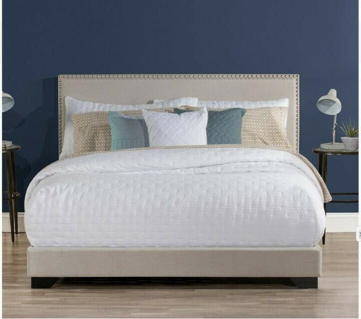New Full Size Platform Bed Headboard Tufted Beds