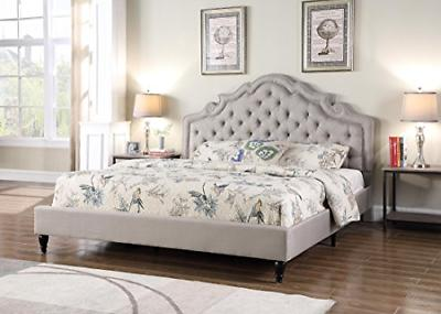 platform bed queen light grey