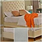 Platform Bed Wooden Frame Light Beige Cream Linen Headboard