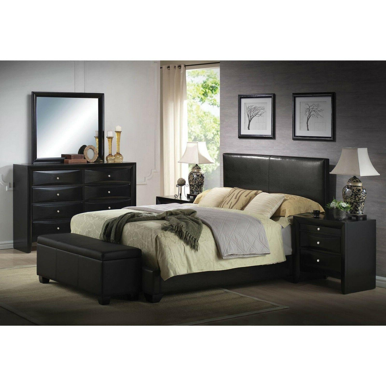 platform queen size bed upholstered brown leather