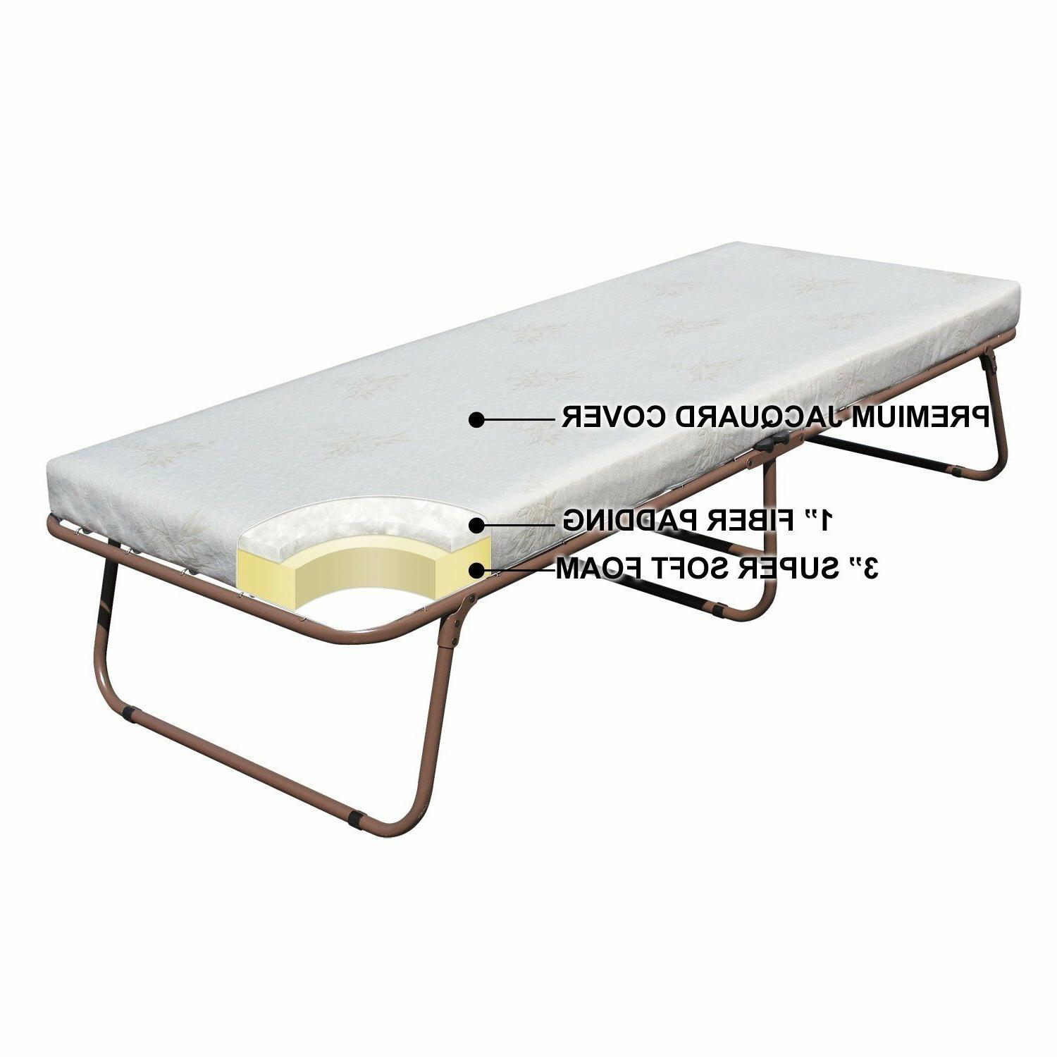 Portable Folding Rollaway Metal Bed Frame Mattress Day Guest Bed