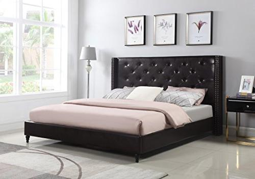 Home Classics Leather Dark Tufted with Tall with Slats - Complete Bed Warranty Included 007