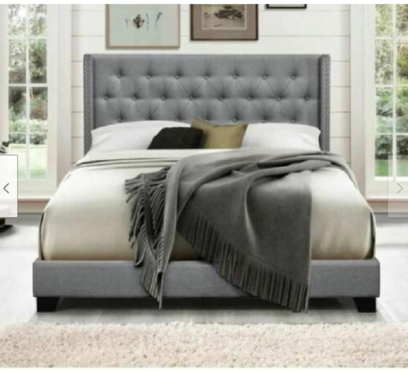 Queen Bed Frame Gray Modern Tufted Upholstered Winged Headbo