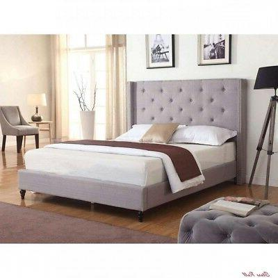 Queen Bed Frame With Headboard Linens Size Classic Light Gre