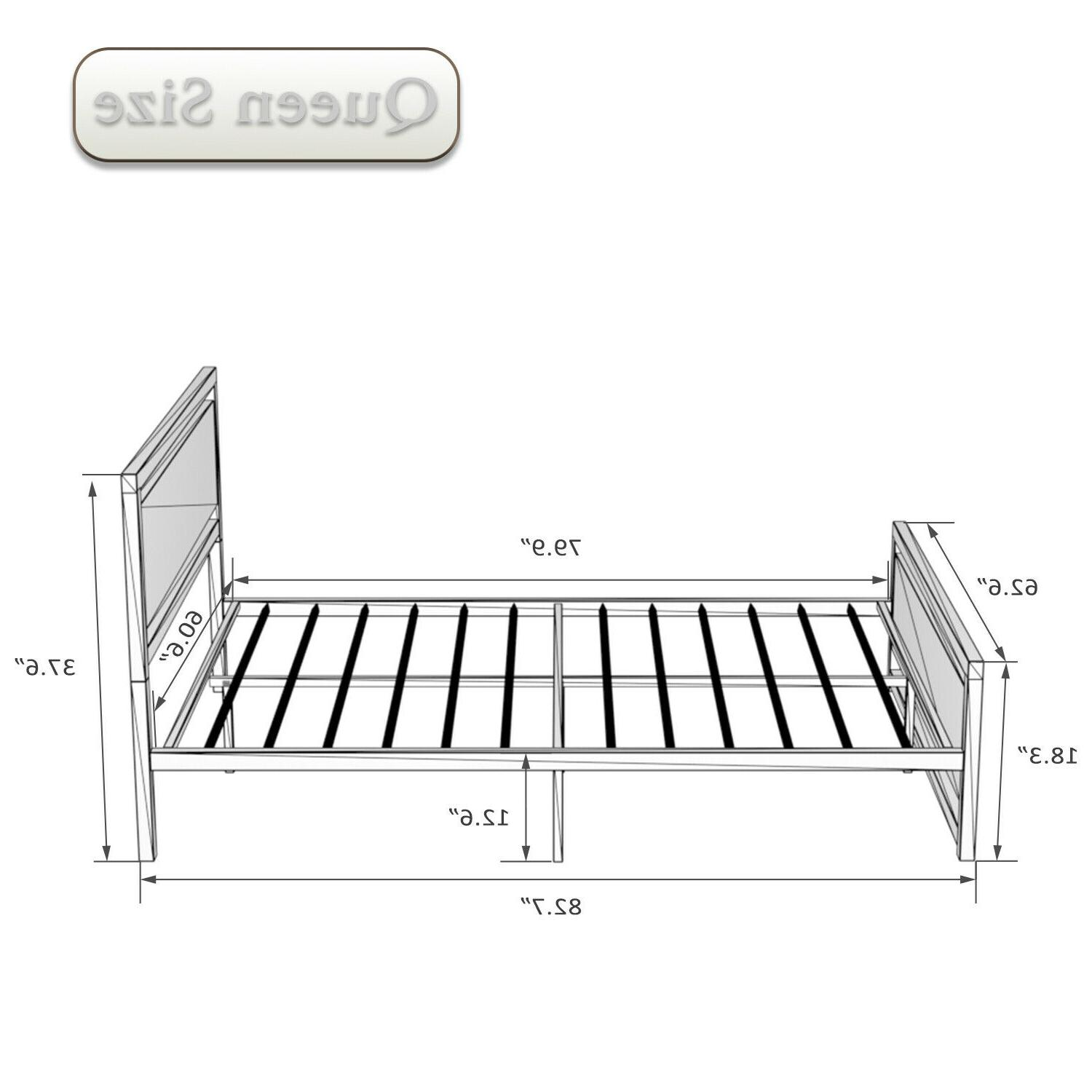 QUEEN FULL Metal Frame With Wood Headboard Brown