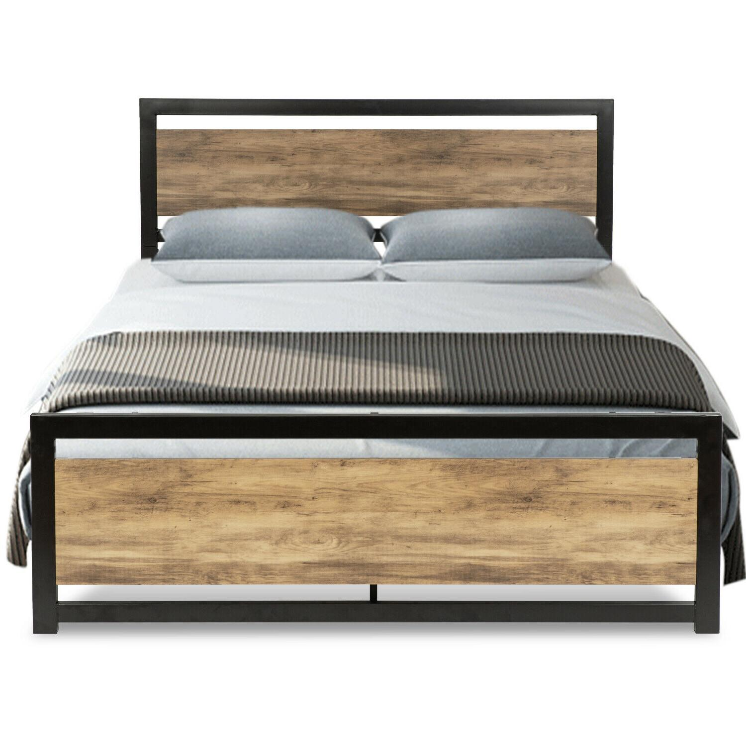 QUEEN Size Platform Metal Bed Wood & Brown