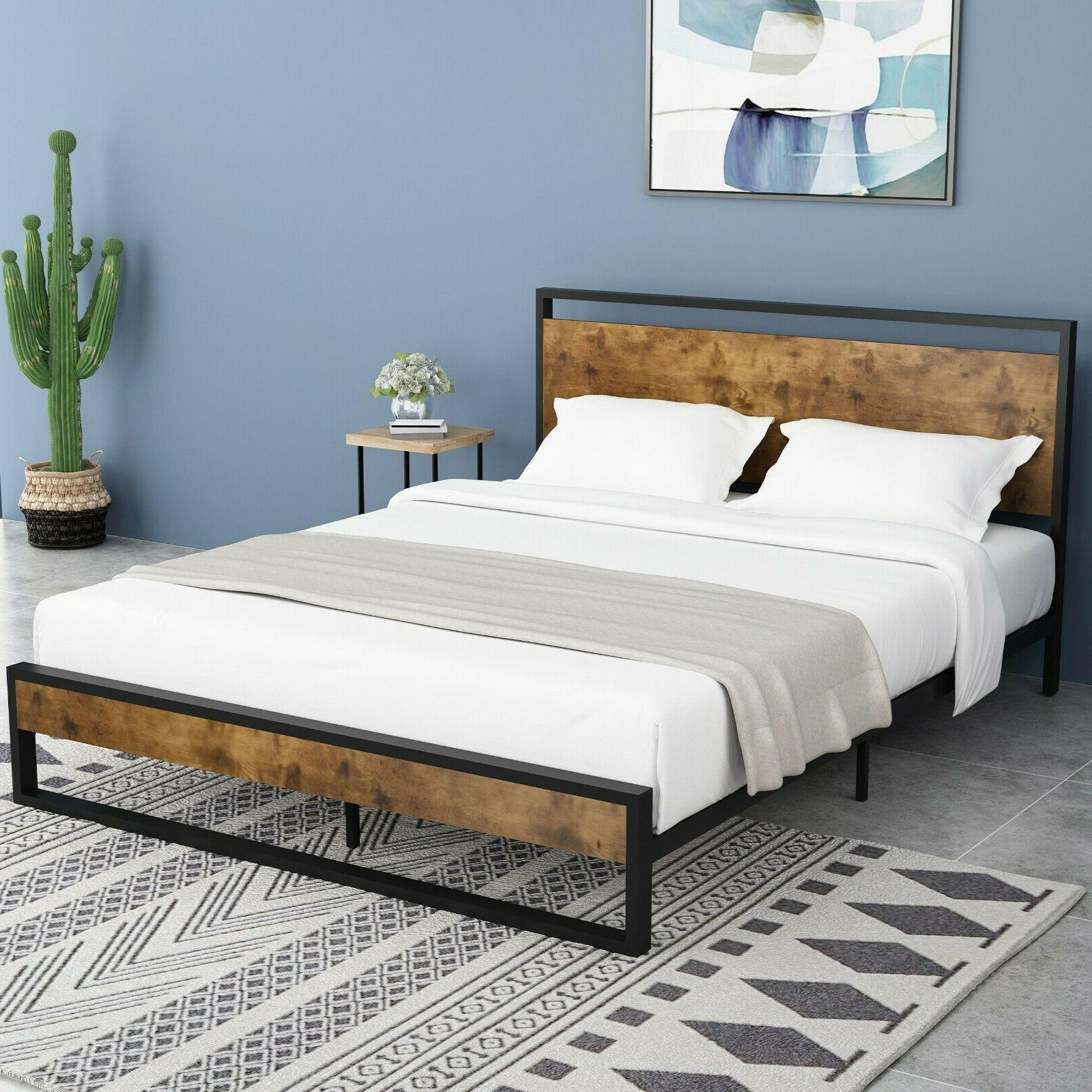 queen full size platform metal bed frame