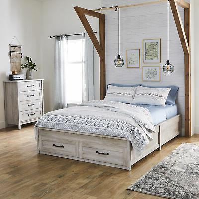 Queen Platform Bed Storage Rustic and White