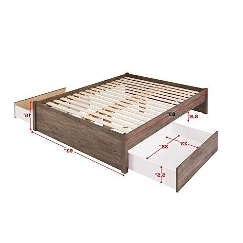 Queen Bed with Drawers, Drifted