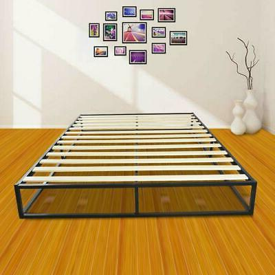 queen size arched wood slats metal bed