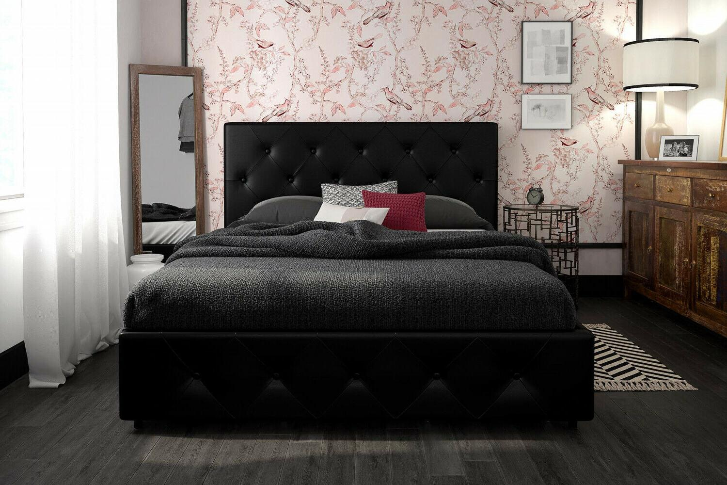 Queen Size With Storage 4 Tufted Black Faux Leather