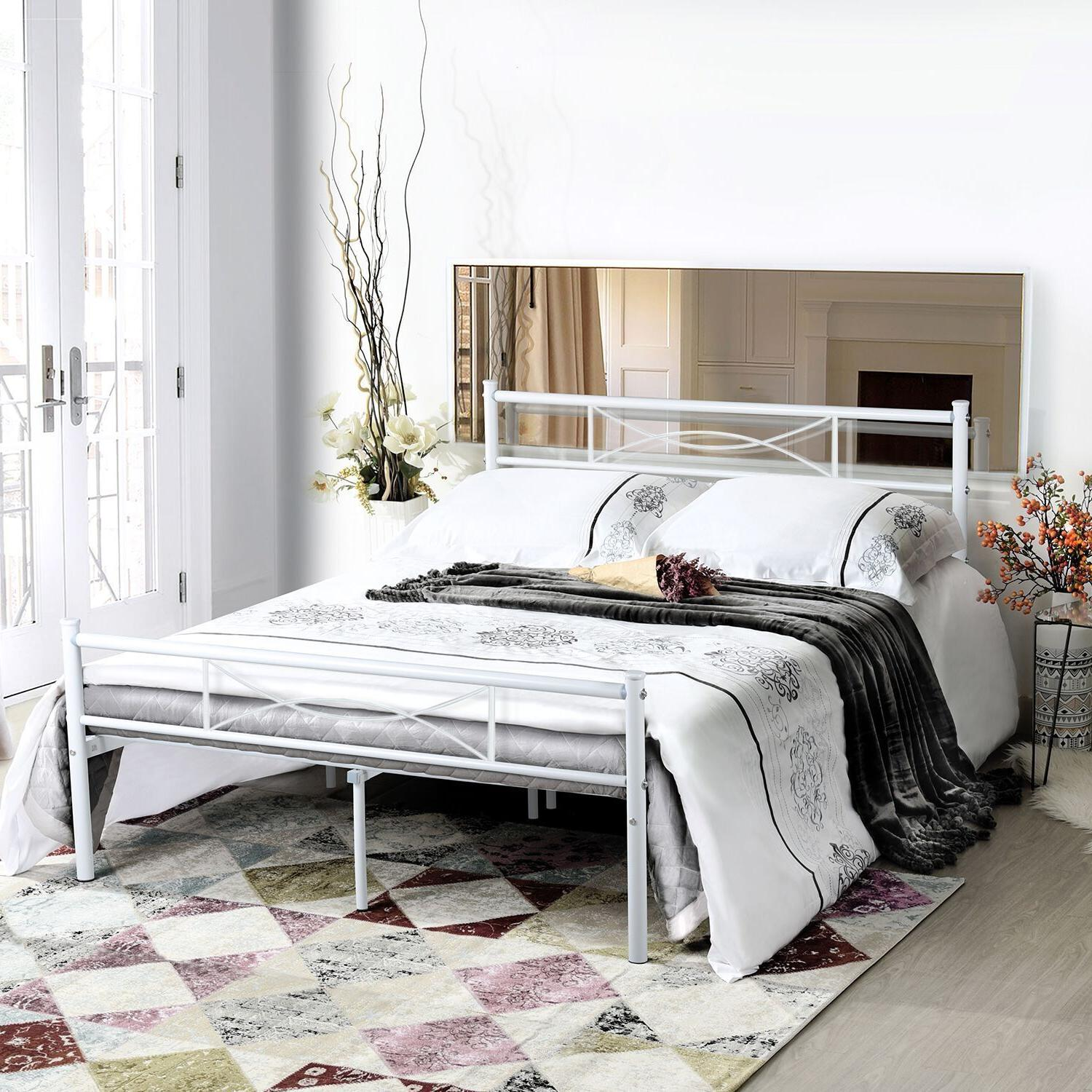 Queen Bed Frame Mattress Foundation with Headboard