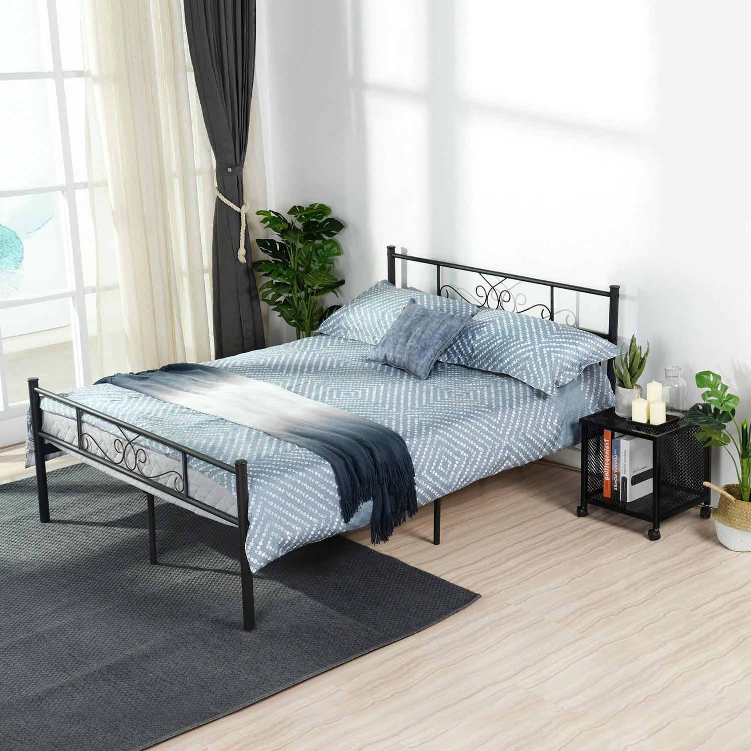 Queen Metal Frame Bedroom Foundation with Headboard