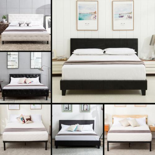 queen size metal bed frame platform upholstered
